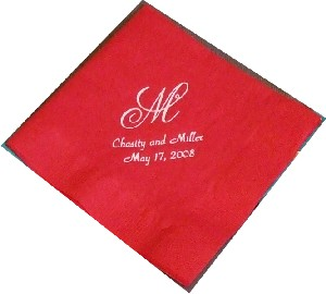 Red wedding napking with Chasity and Miller, May 17, 2008 and Monogram M - simply beautiful!