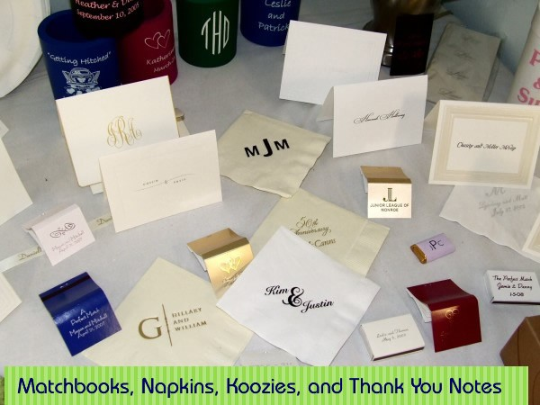 Personalized matchbooks, napkins, huggers, koozies, and thank you cards